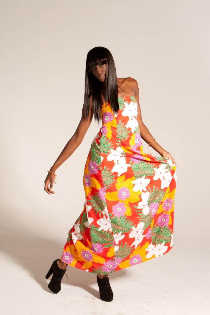 Hawaiian Floral Halter Dress