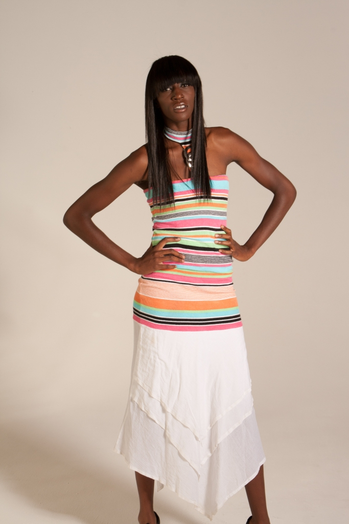 Horizontal Striped Terry Halter with White Cotton Hem