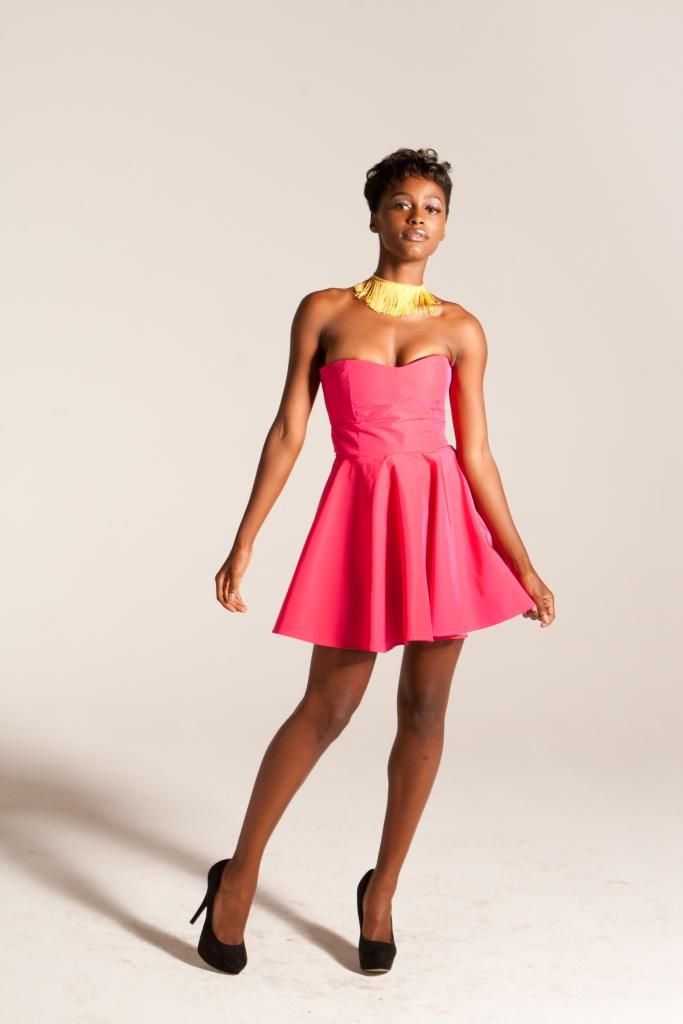 Hot Pink Babydoll Dress and Gold Fringe Necklace